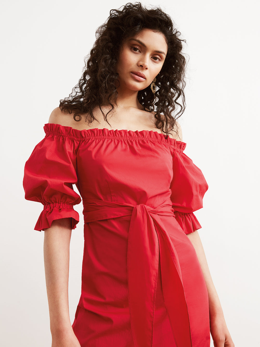 Cora Red Cotton Bardot Summer Dress by KITRI Studio