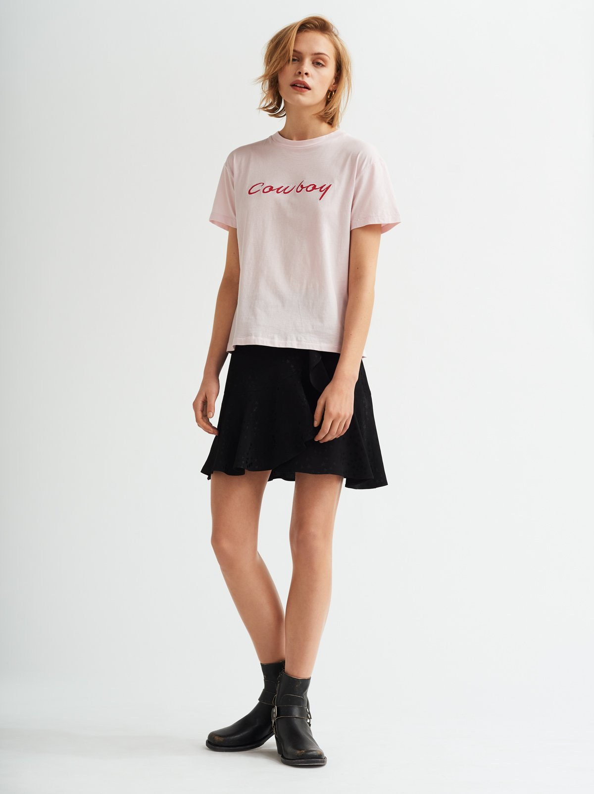 Cowboy Printed Pink Cotton Crew Neck T-shirt by KITRI Studio