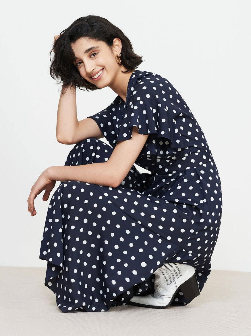 Eliana Navy Polka Dot Wrap Dress by KITRI Studio