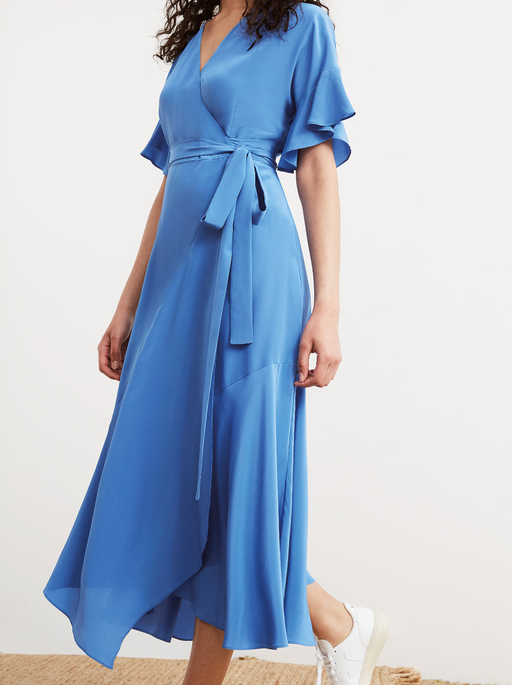 Eliana Blue Silk Wrap Dress by KITRI Studio
