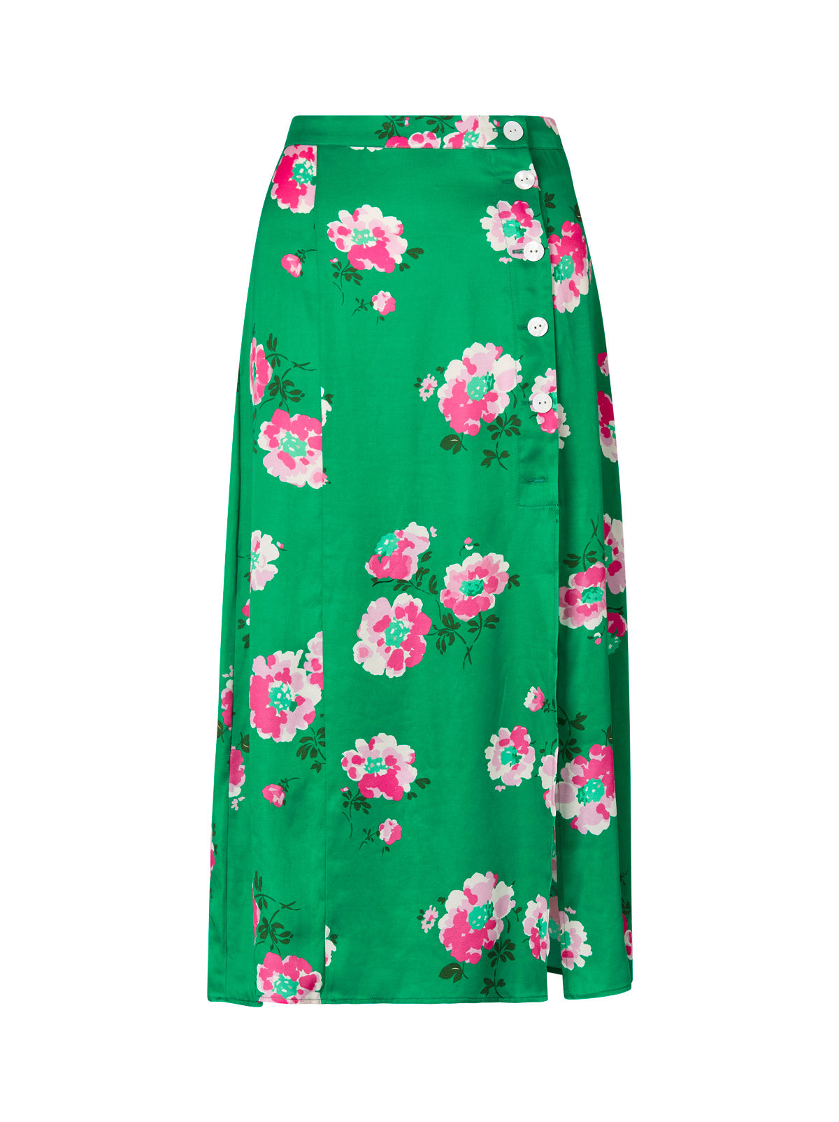 Erin Green Floral Buttoned Midi Skirt by KITRI Studio