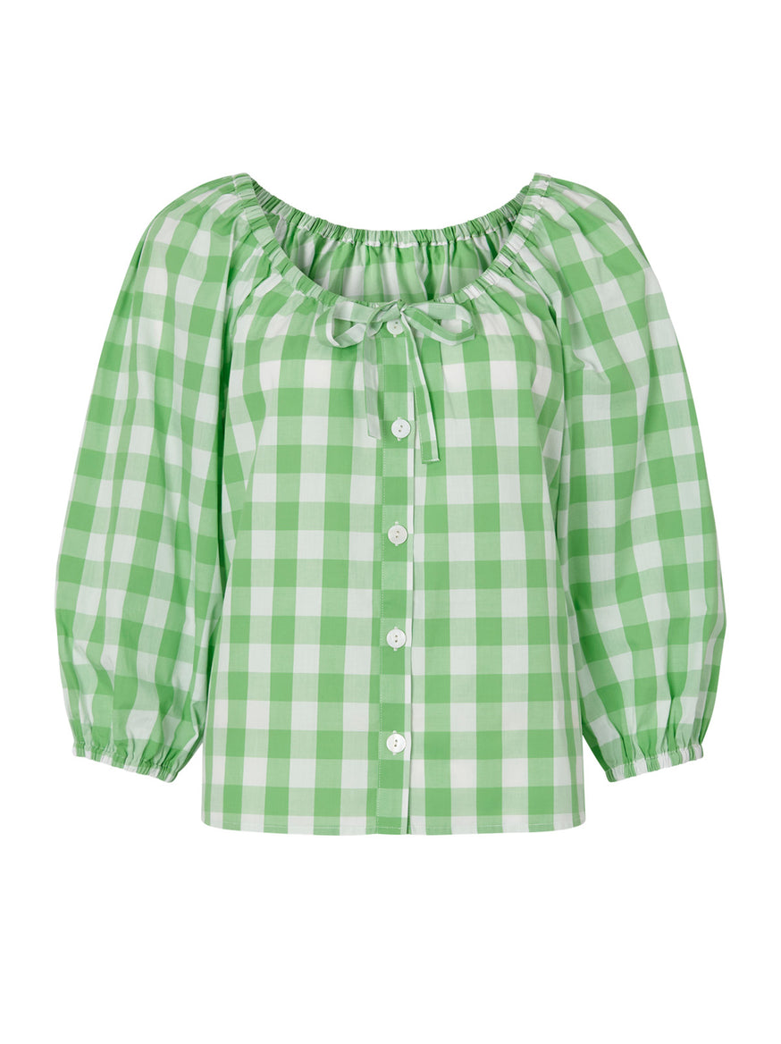 Esther Green Gingham Top by KITRI Studio