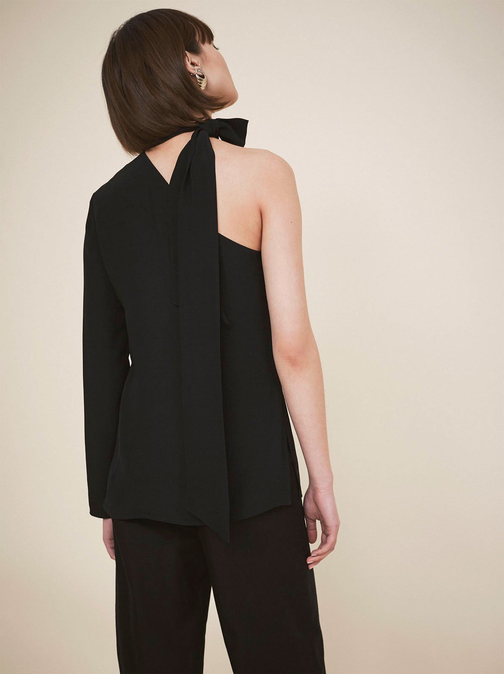 Fonteyn Black Scarf Top | Women's Tops by KITRI Studio