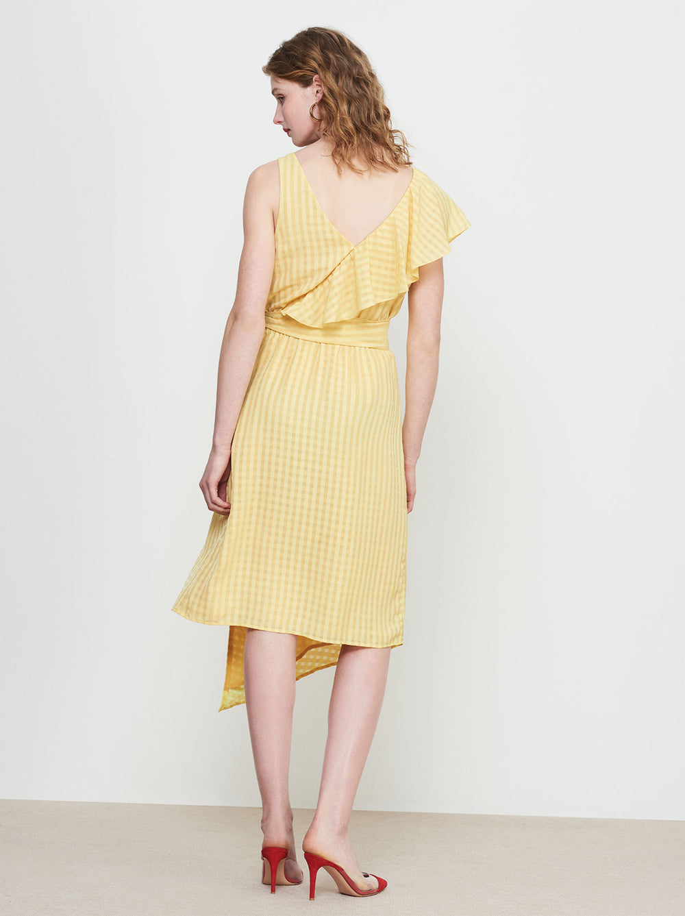 Francesca Yellow Frill Wrap Dress by KITRI Studio