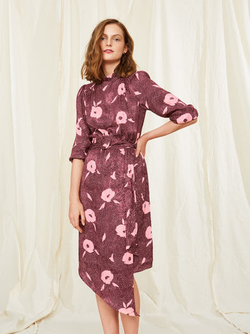 Galina Vintage Floral Print Dress