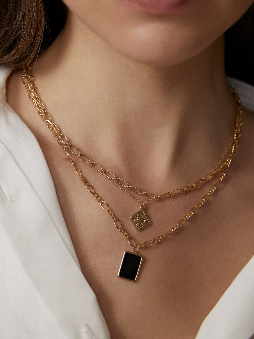 Gold Triple Layered Necklace by KITRI Studio