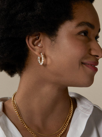 Gold Chain and Pearl Hoop Earrings by KITRI Studio