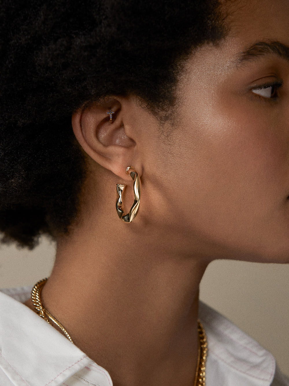 Hammered Gold Open Hoop Earrings by KITRI Studio