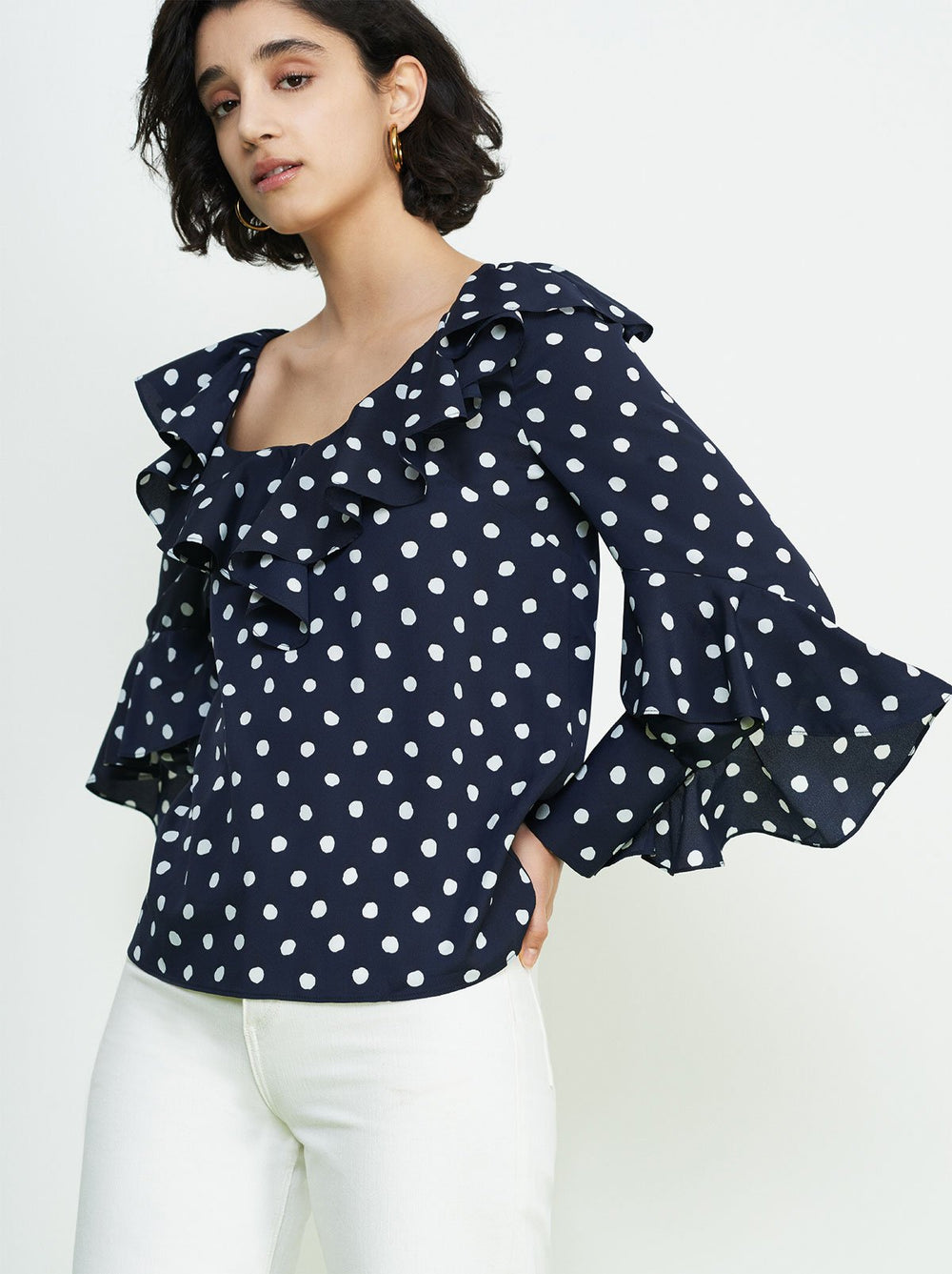 Hazel Navy Polka Dot Frill Top by KITRI Studio