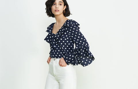 Hazel Polka Dot Frill Top