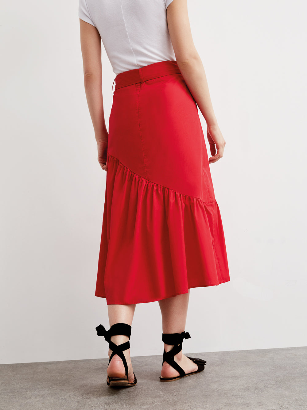 Isla Red Cotton Midi Skirt by KITRI Studio