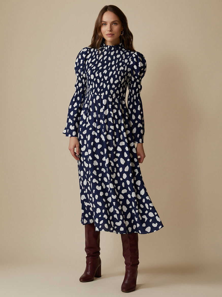 Juliette Navy Spot Shirred Dress by KITRI Studio