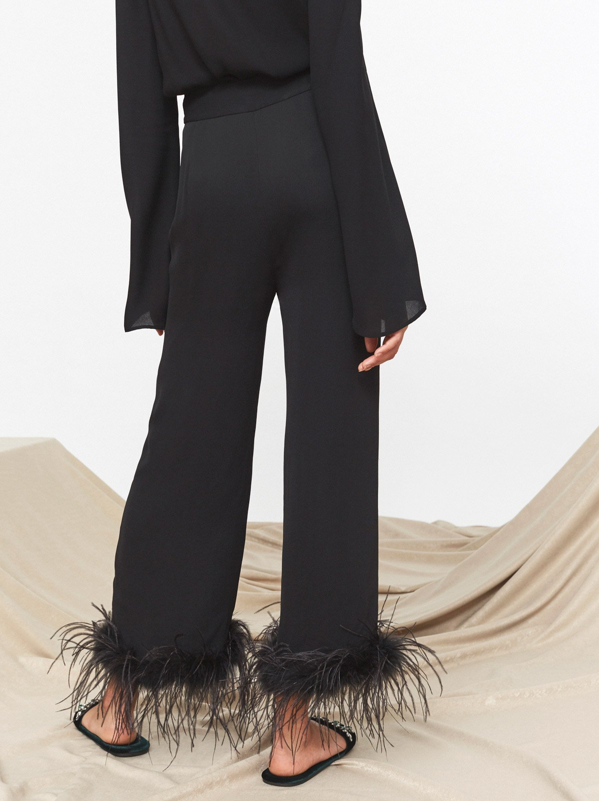 Kiki Black Feather Trousers by KITRI Studio