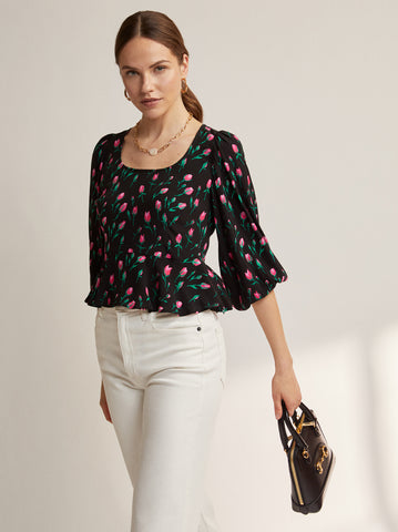Leah Black Rose Print Top by KITRI Studio