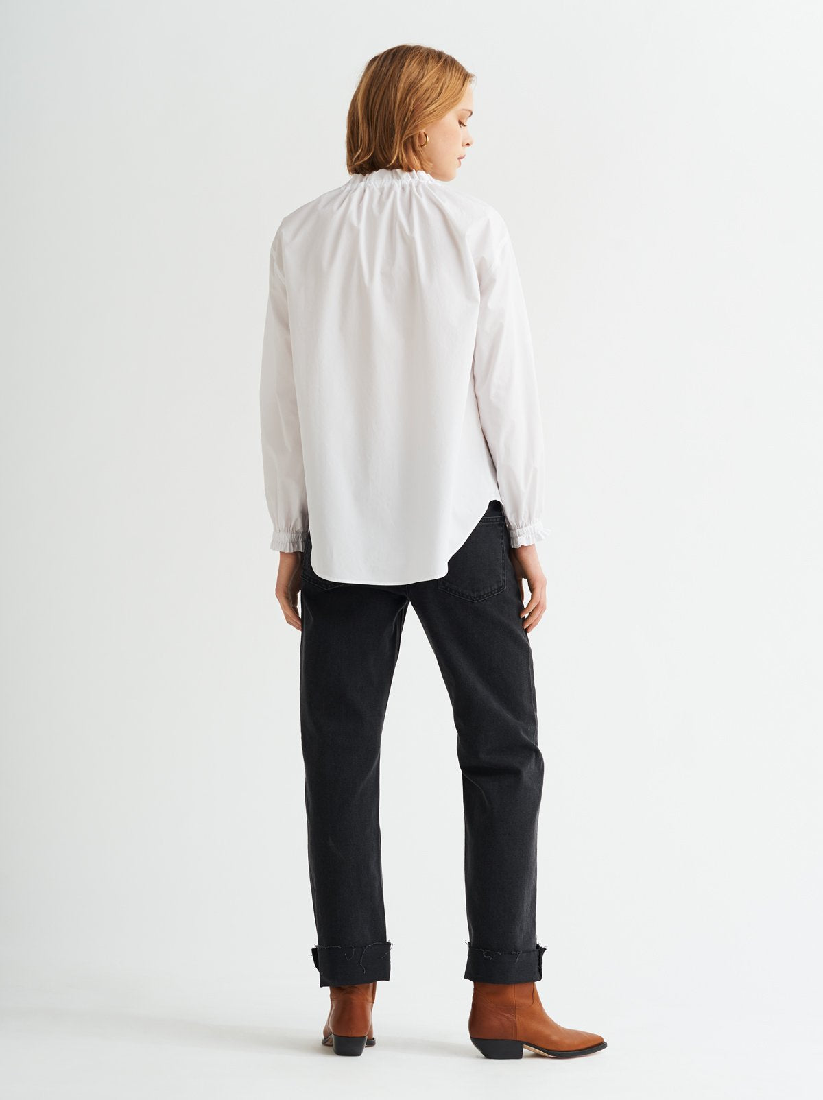 Lucinda White Gathered Neck Cotton Shirt by KITRI Studio