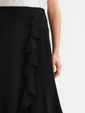 Lyla Black Waterfall Frill Midi Skirt by KITRI Studio