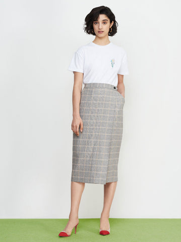 Mila Grey Check Linen Wrap Skirt by KITRI Studio