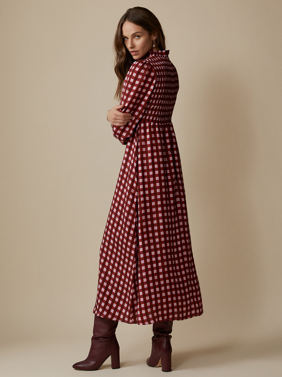 Molly Pink Checked Dress by KITRI Studio
