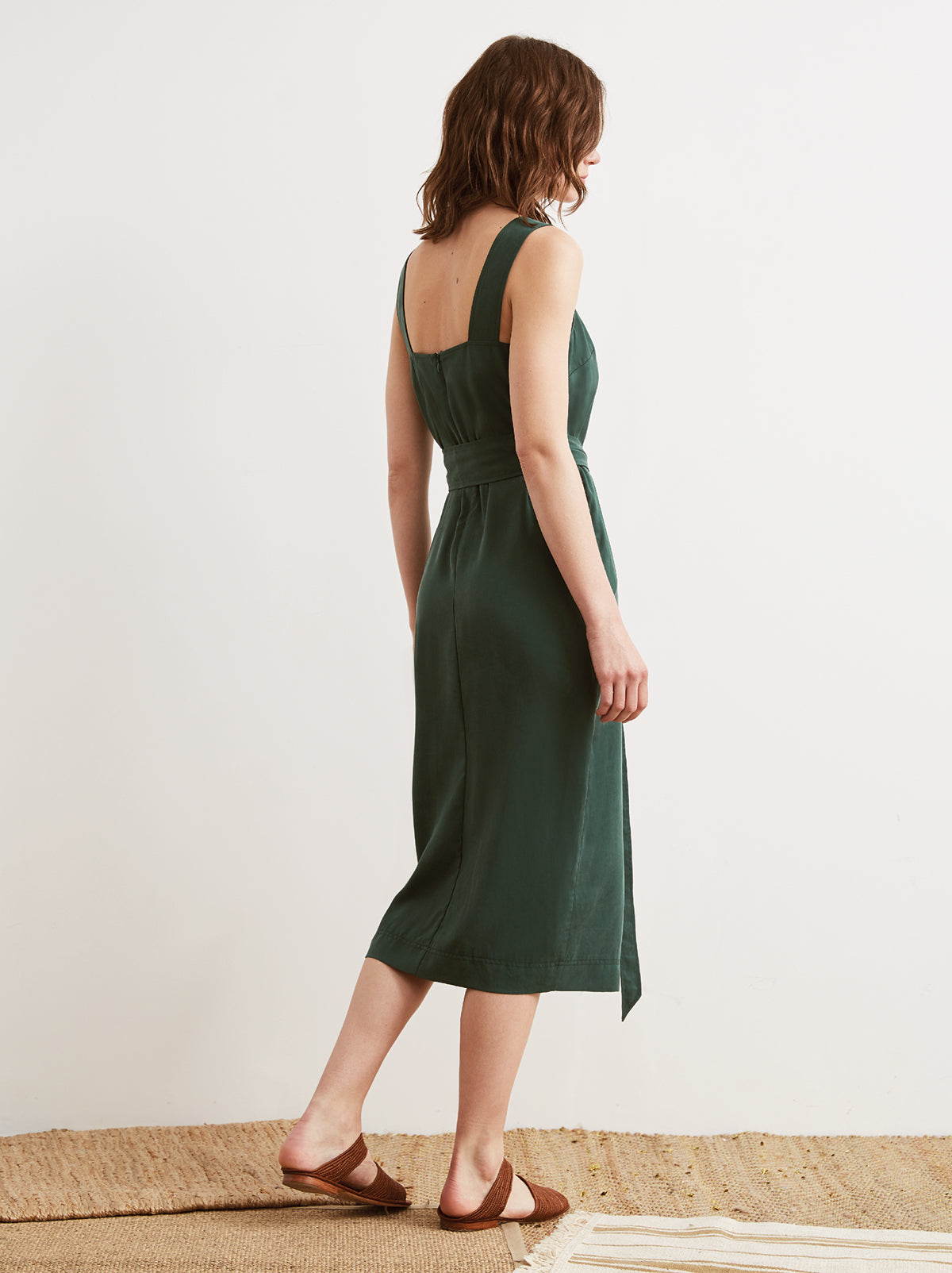 Morgan Green Belted Column Dress by KITRI Studio