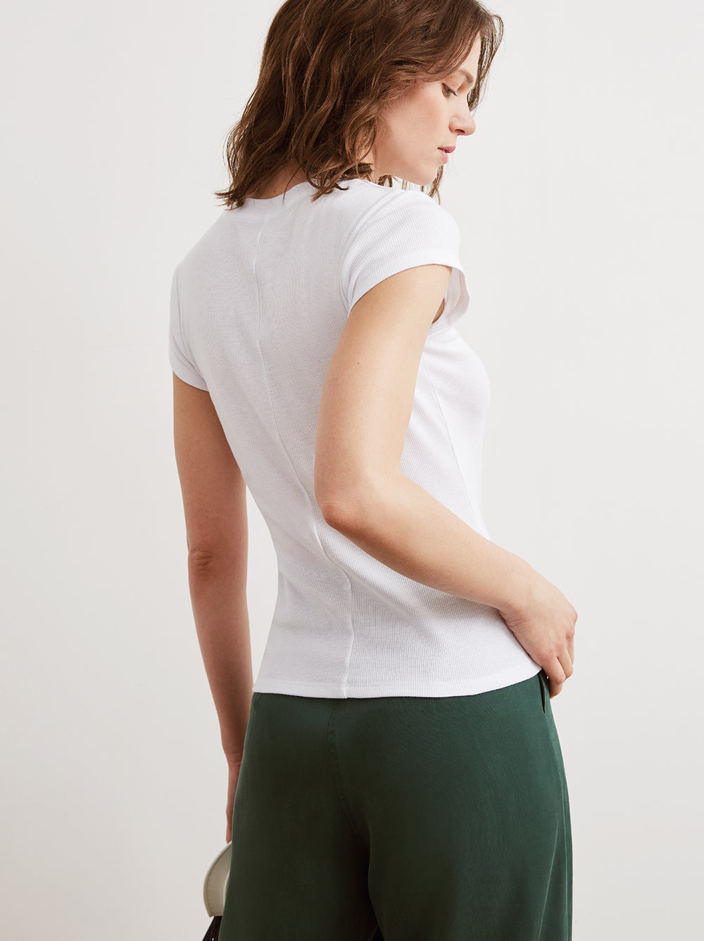 Rumi White Ribbed Crew Neck T-Shirt by KITRI Studio