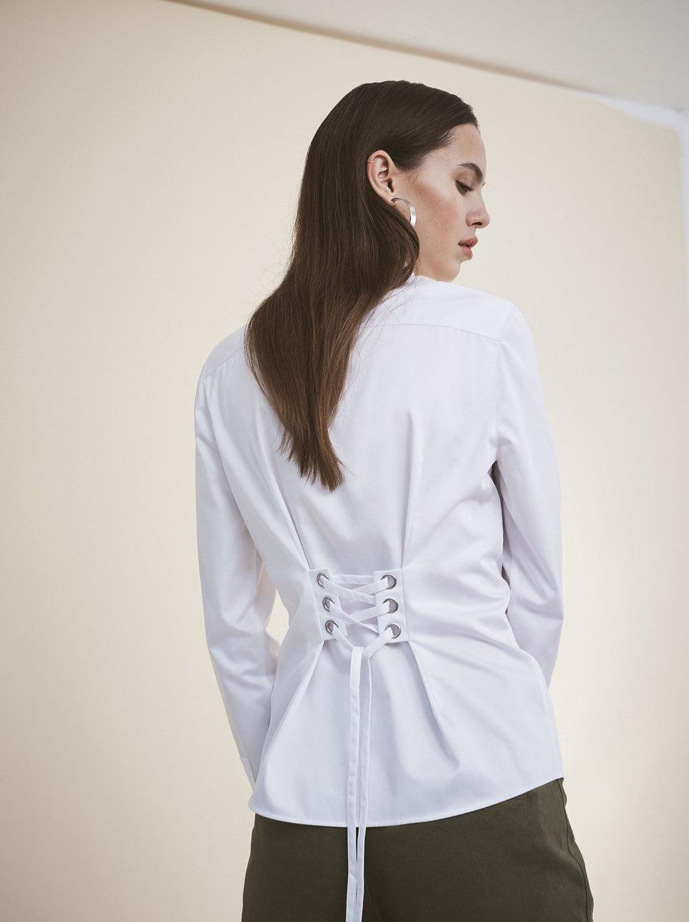 Sylvie White Cotton Statement Corset Shirt by KITRI Studio