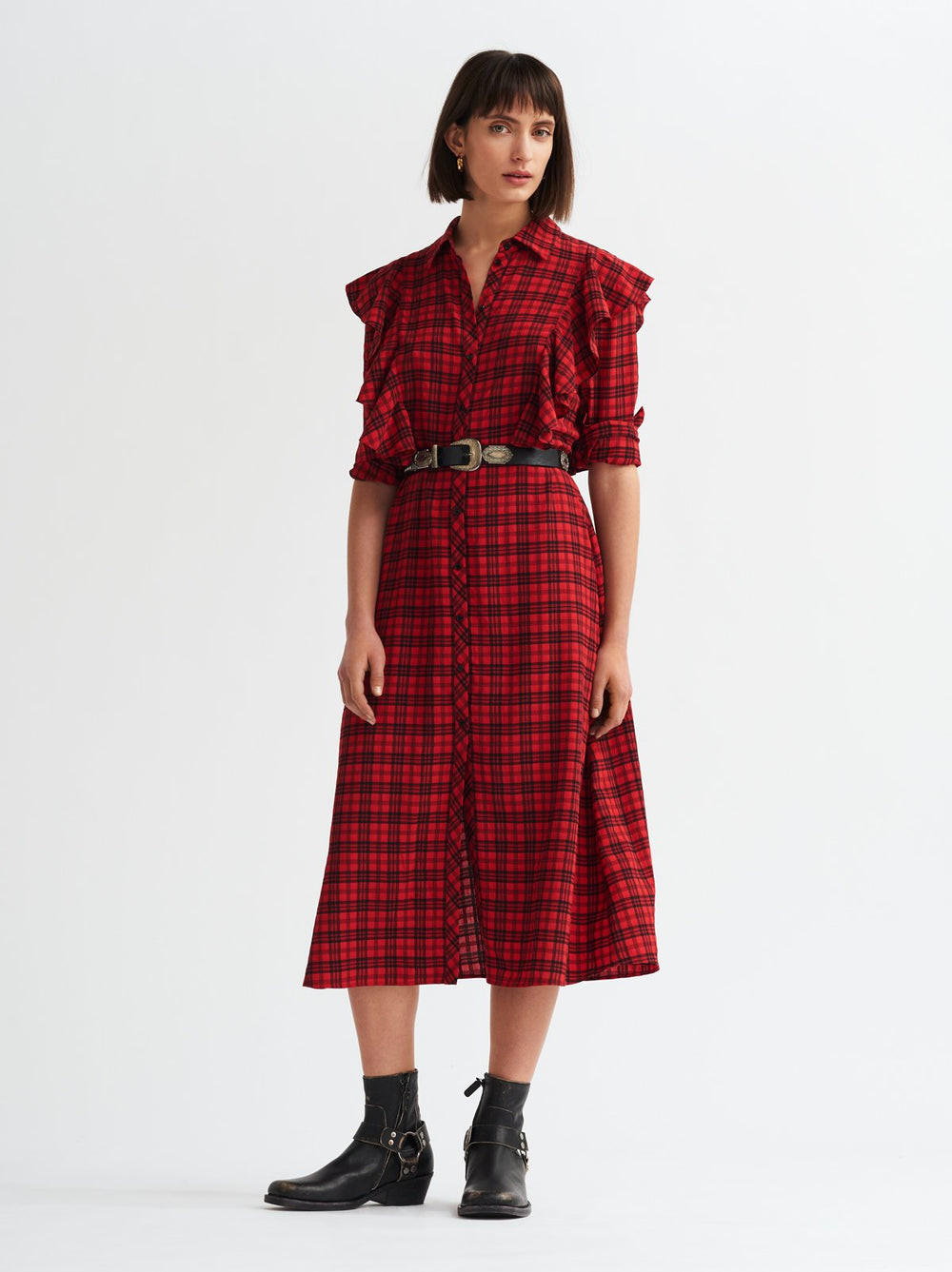 Thea Red Check Frill Shirt Dress by KITRI Studio