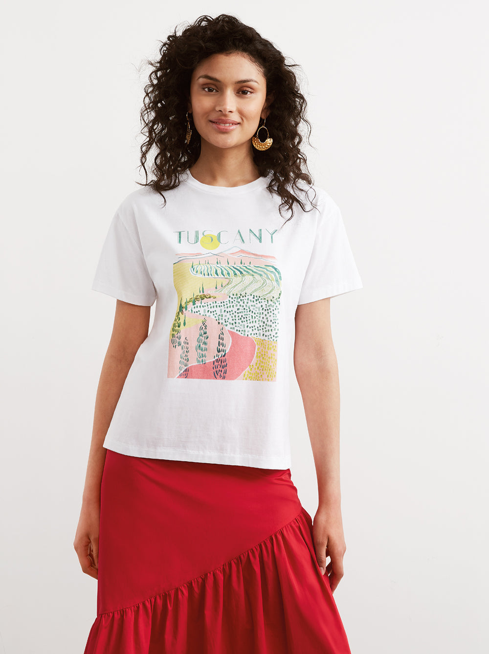 Tuscany White Cotton Printed Crew Neck T-shirt by KITRI Studio