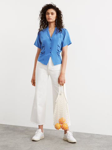 Valeria Blue Silk Ruched Blouse by KITRI Studio