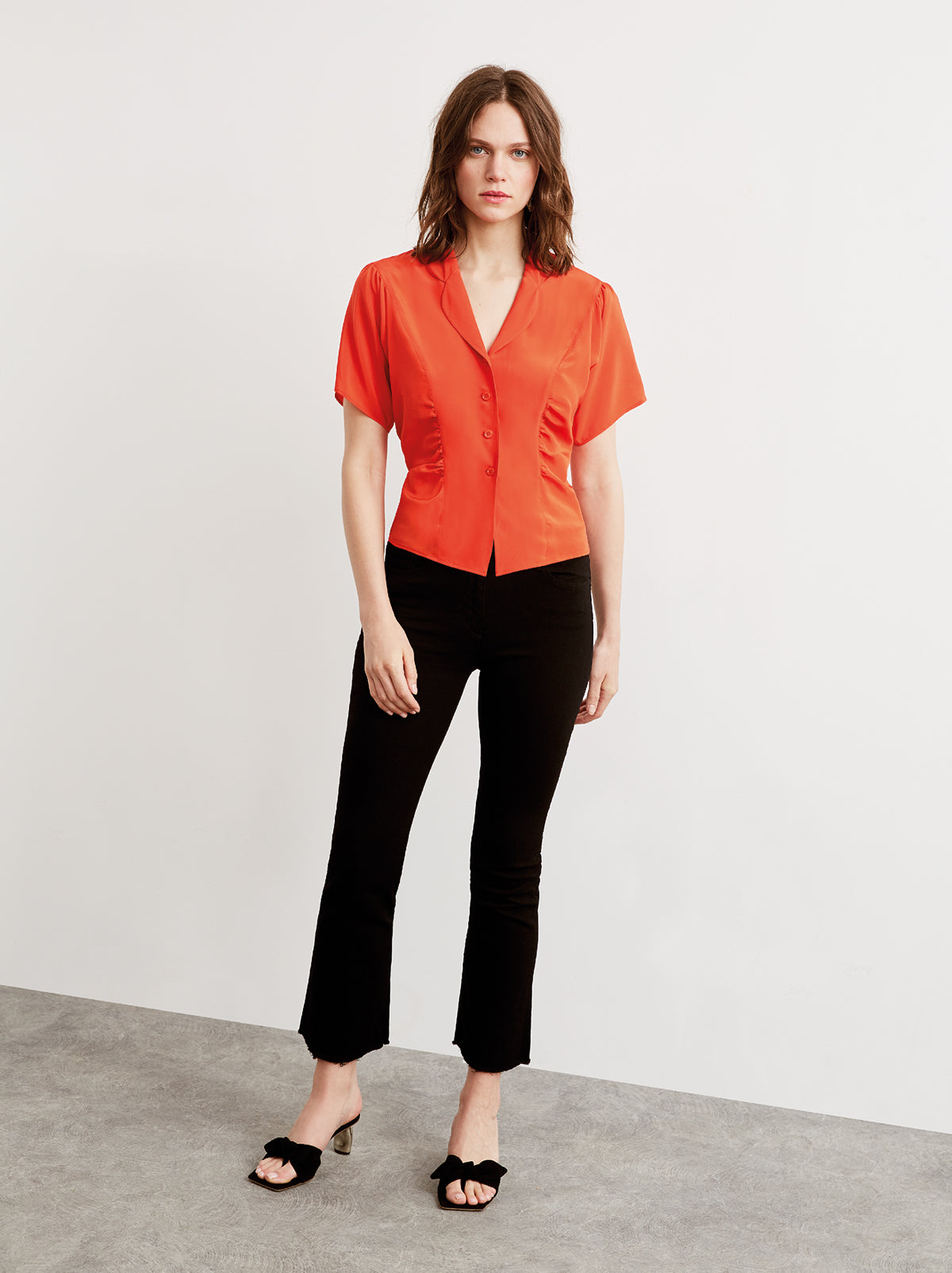 Valeria Red Silk Ruched Blouse by KITRI Studio