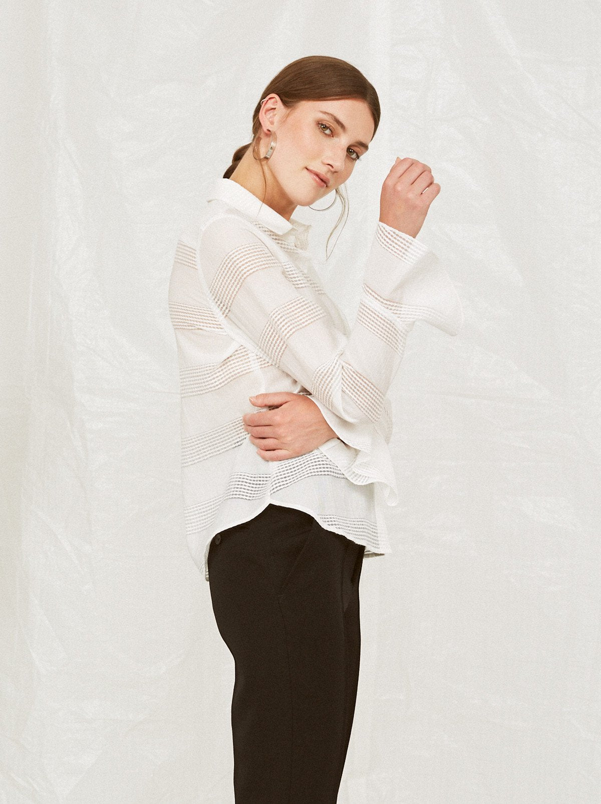 Odette White Petal Cuff Work Blouse by KITRI Studio