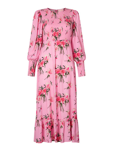 Karoline Pink Peony Print Smocked Dress