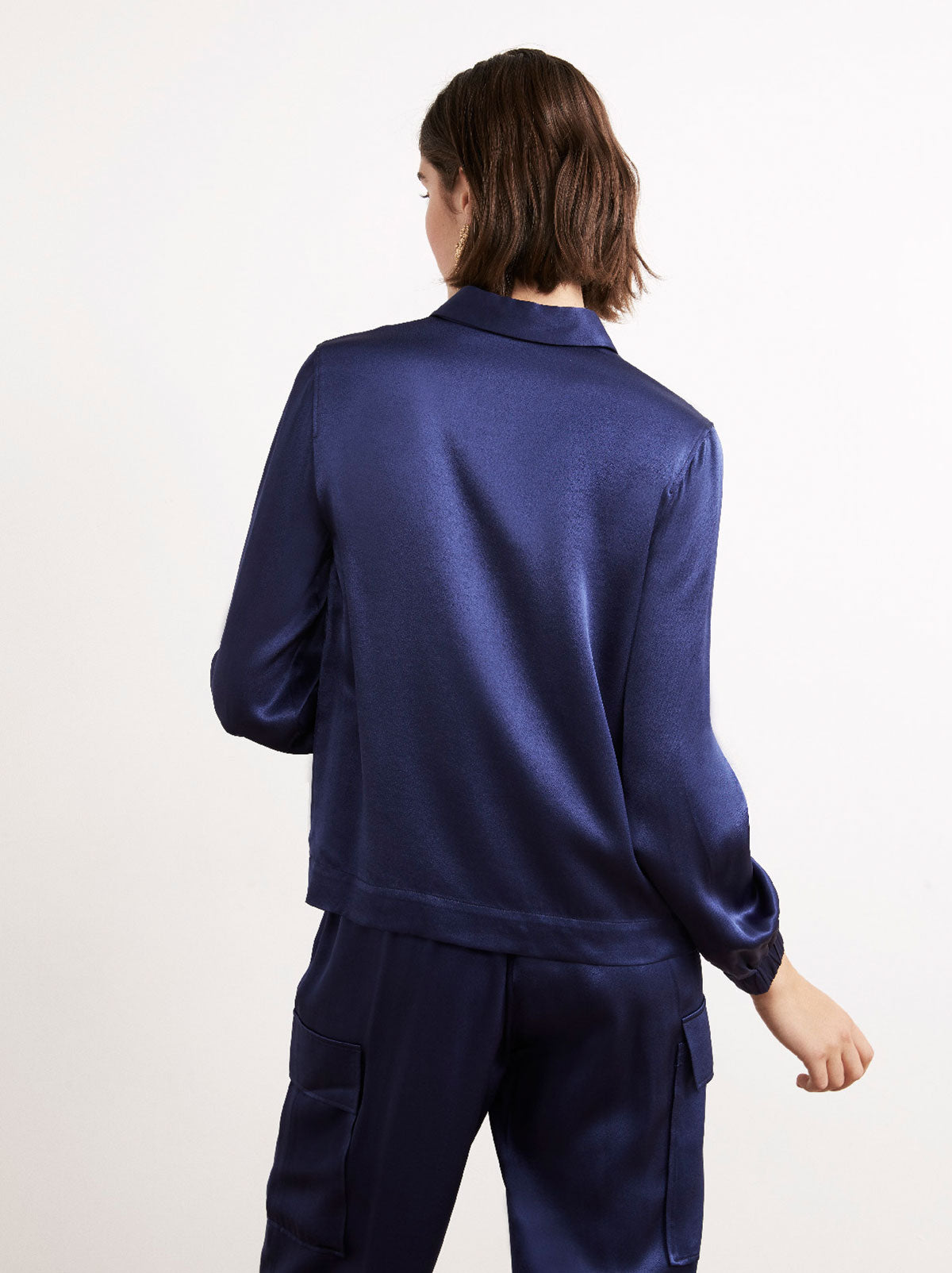Kendra Navy Satin Zip Blouse by KITRI Studio