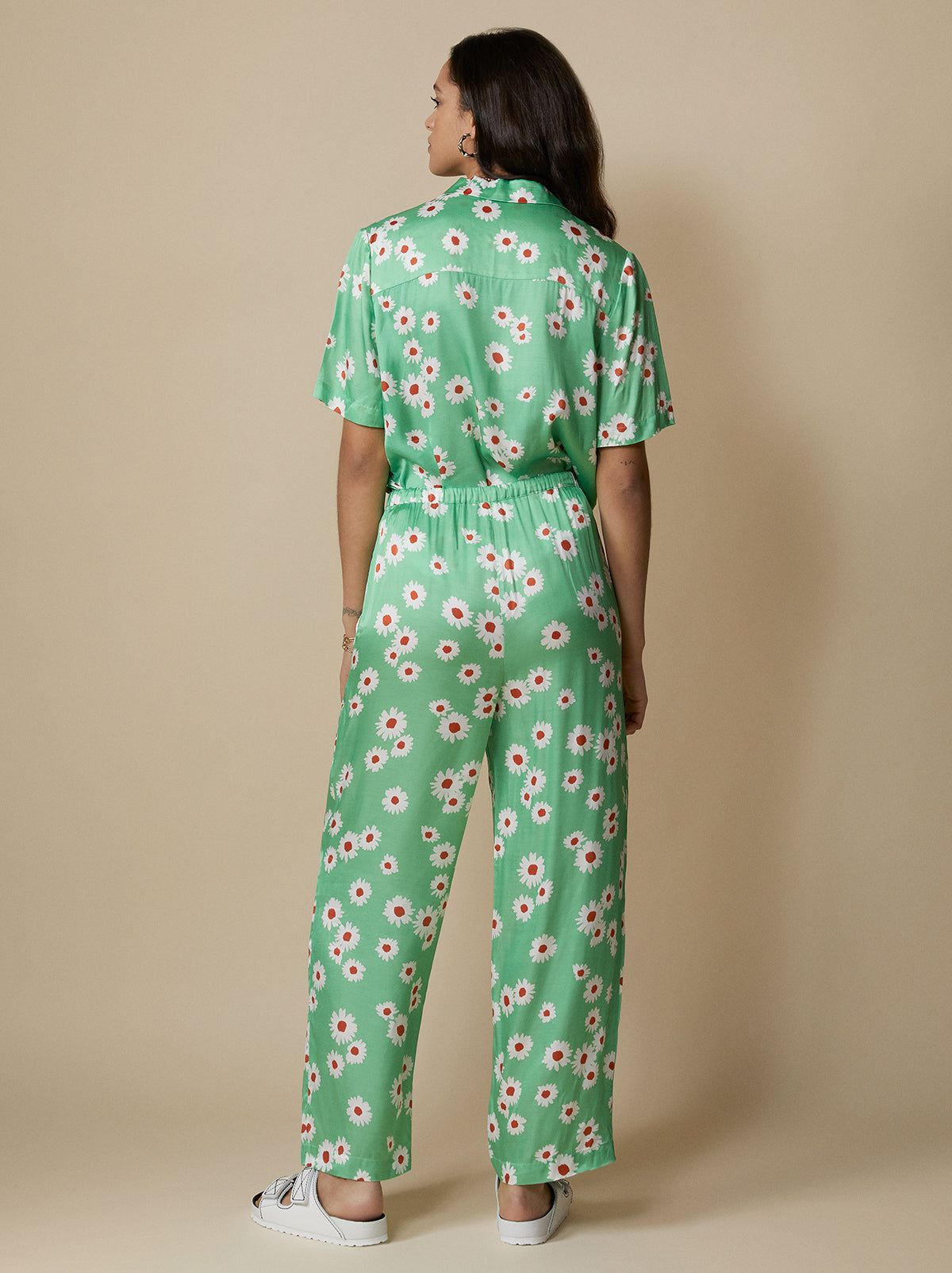 Kent Green Daisy Drawstring Trousers by KITRI Studio
