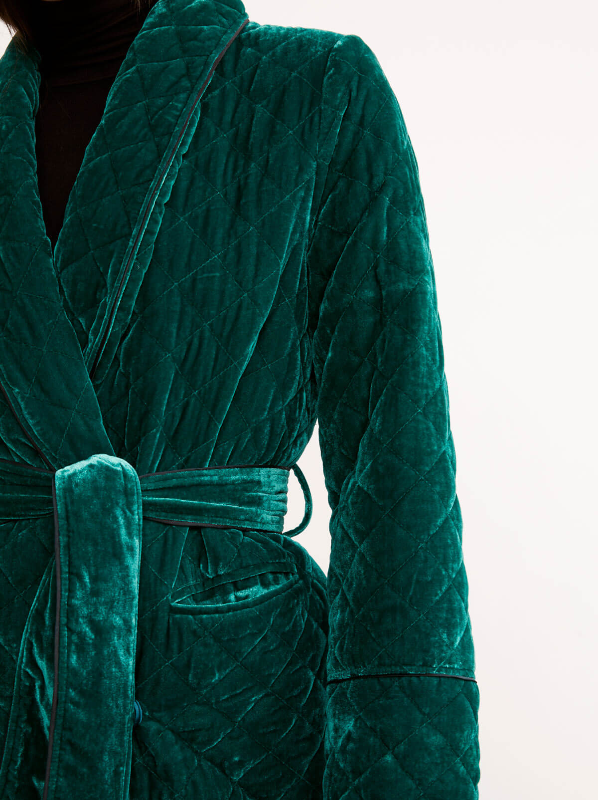 Kinsley Green Velvet Quilted Robe Coat by KITRI Studio