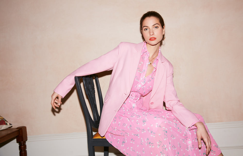 Laurie Pink Oversized Tailored Blazer by KITRI Studio