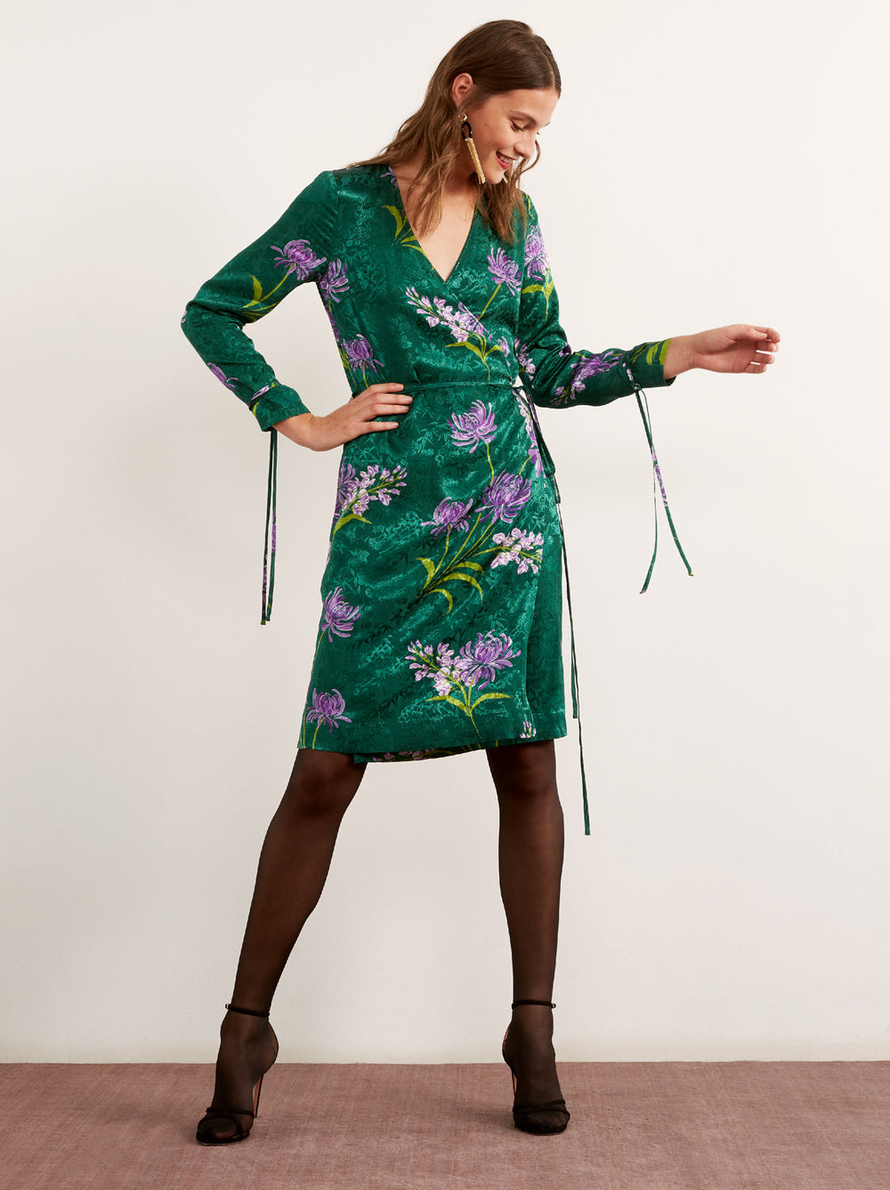 Lausanne Green Floral Print Wrap Dress by KITRI Studio