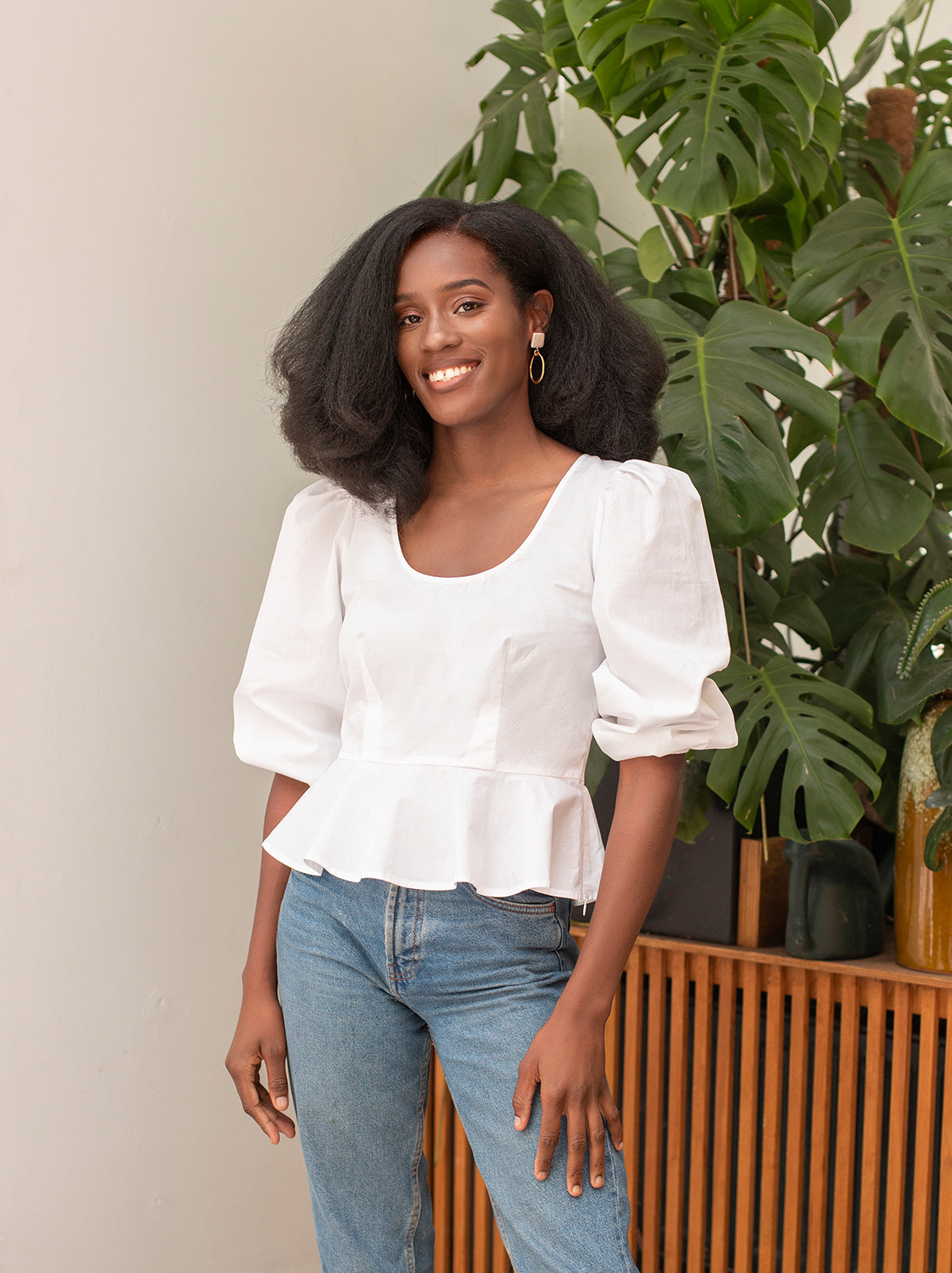 Leah White Cotton Top