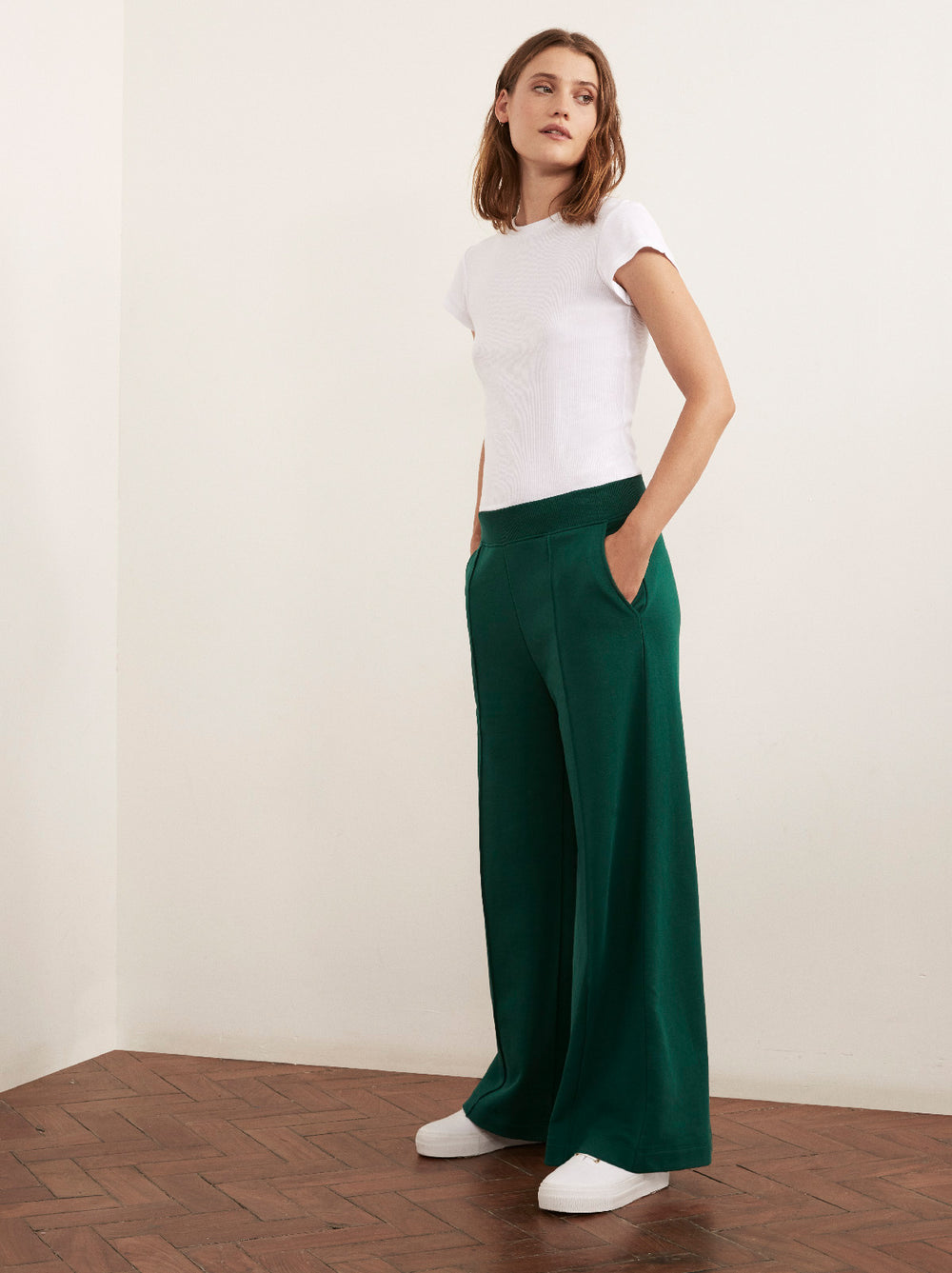 Lee Green Cotton Wide Leg Sweatpants by KITRI Studio