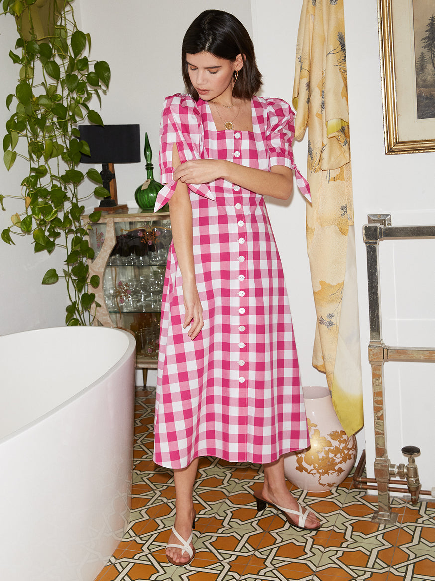 Lenora Pink Cotton Check Midi Dress by KITRI Studio