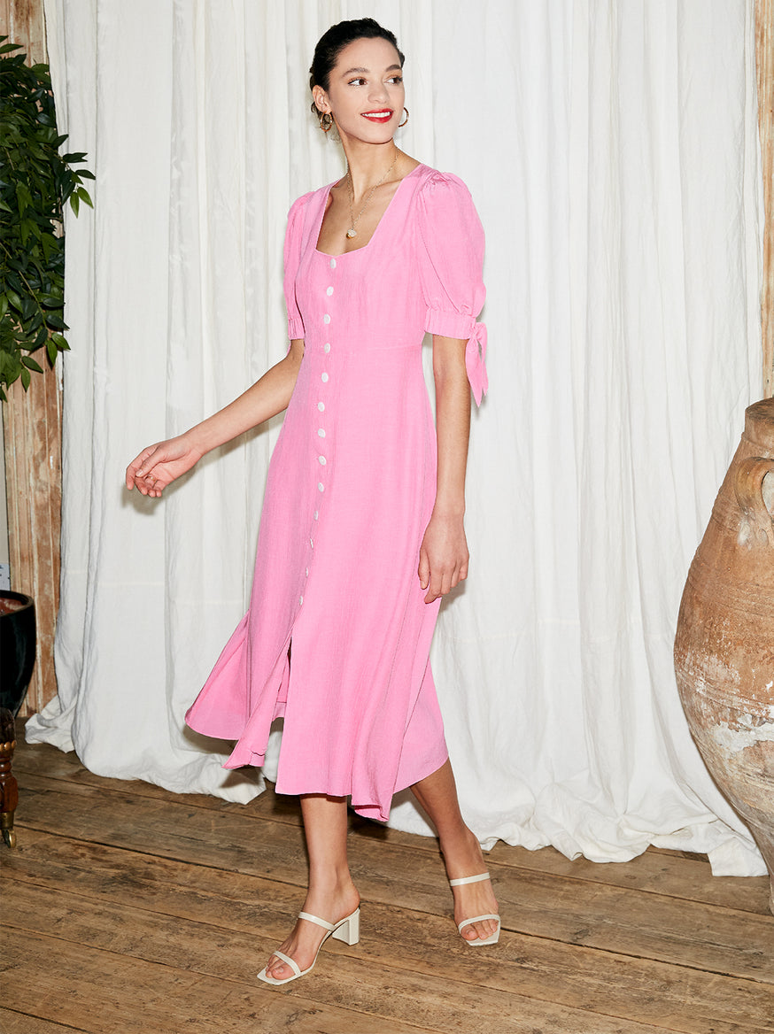 Lenora Pink Tie Sleeve Midi Dress by KITRI Studio