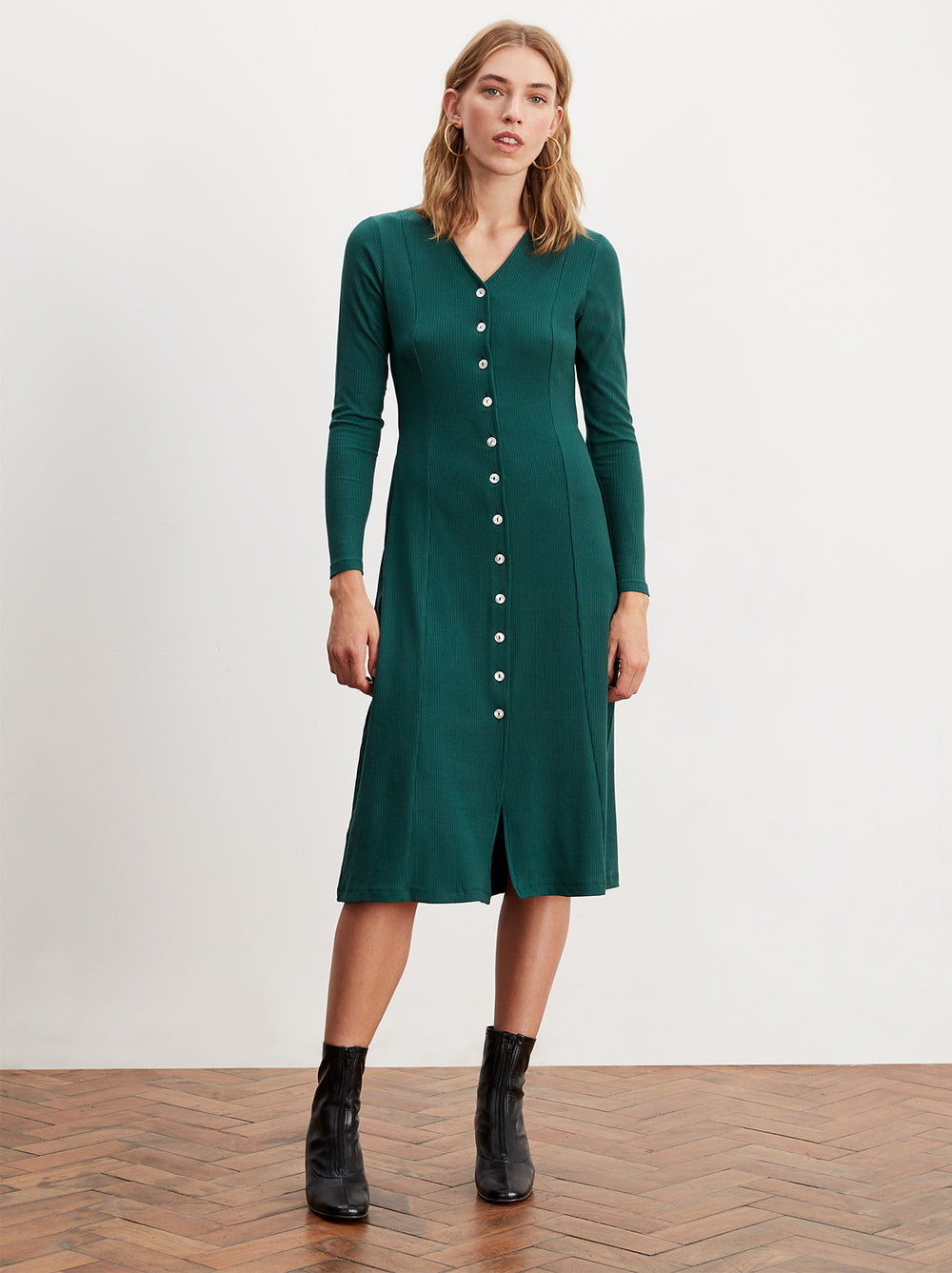 Leticia Ribbed Jersey Midi Dress by KITRI Studio