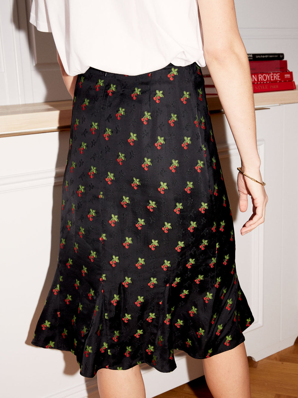 Lois Black Cherry Print Flared Skirt by KITRI Studio