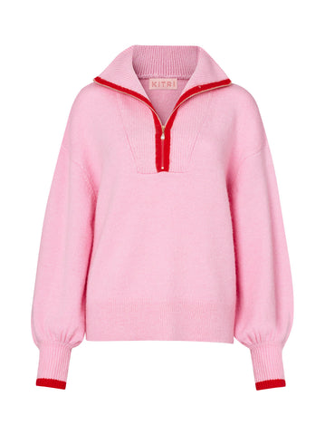 Pre-order: Lorna Pink Alpaca Blend Zip Collar Sweater