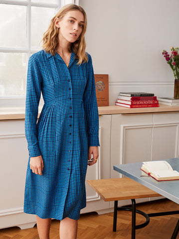 Lotta Blue Check Shirt Dress by KITRI Studio