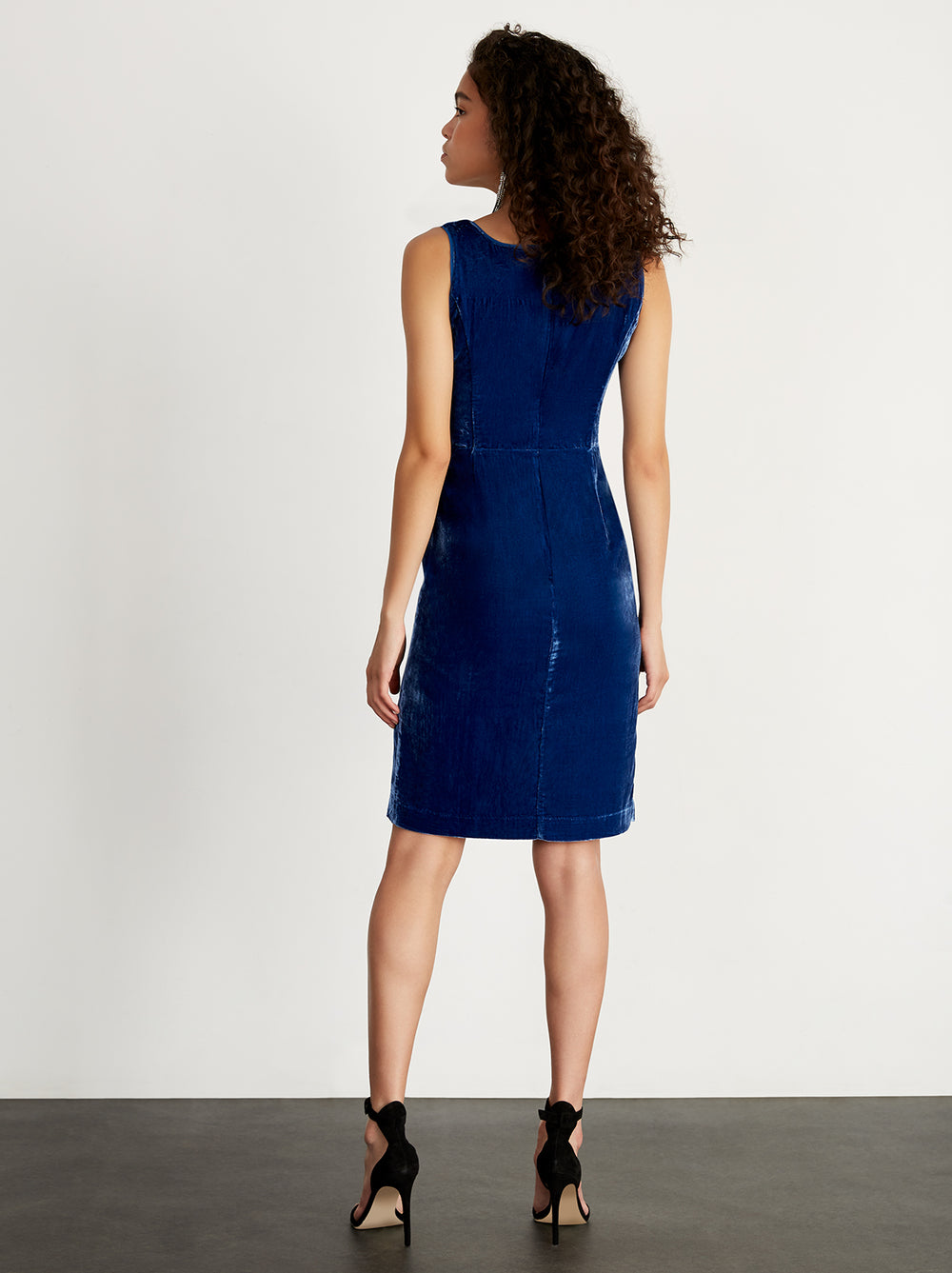 Lucette Blue Embroidered Velvet Dress