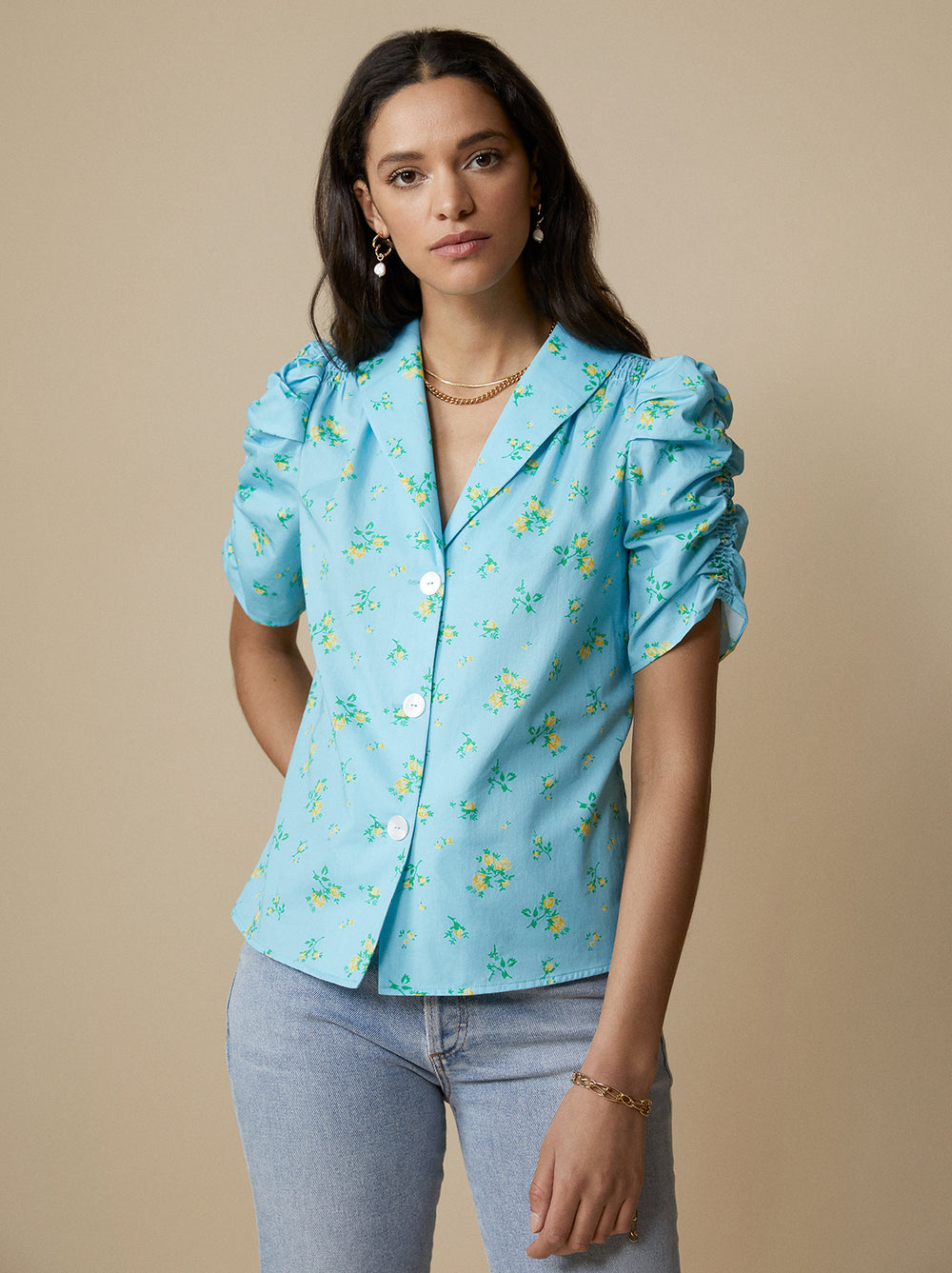 Lyla Blue Floral Cotton Top by KITRI Studio