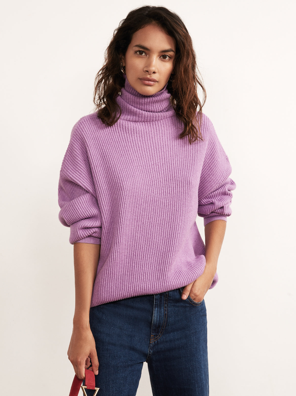 Mabel Purple Cotton Roll Neck Jumper by KITRI Studio