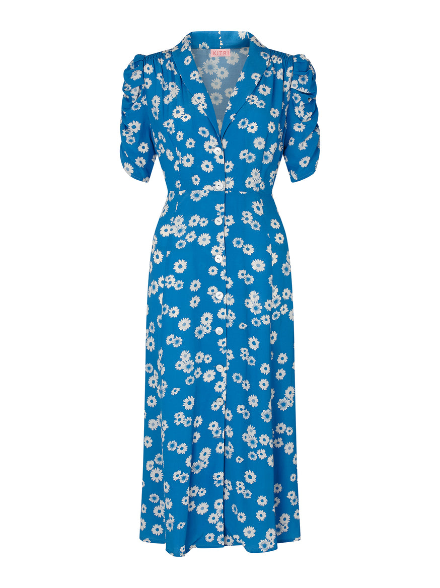 Maguire Blue Daisy Print Tea Dress