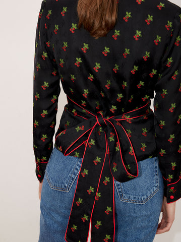 Maisie Black Cherry Wrap Shirt by KITRI Studio