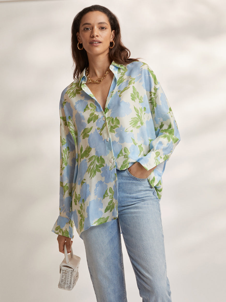 Mariana Blue Floral Boyfriend Shirt  by KITRI Studio